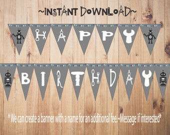 Printable Happy Birthday Robot Banner