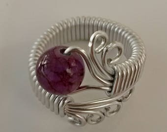 Purple glass Pearl silver ring
