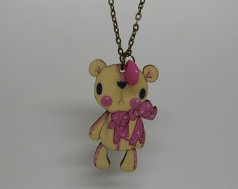 Pink Teddy bear necklace made of wood