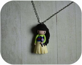 "Necklace Princess mulan ""black hair, blue/yellow dress"" (Princess collection) (2)"