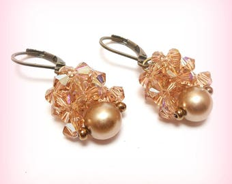 "Earrings Crystal ""Tenderness in cream"""
