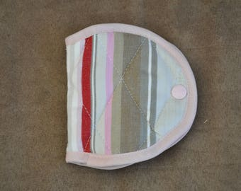 Pouch Pincushion stripes red pink and gray