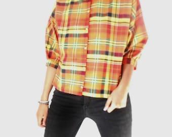 Cotton madras shirt-blouse