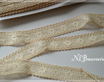 Woven cotton Ribbon ivory 30mm