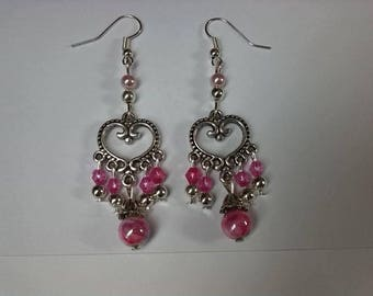 Pink romantic Bohemian earrings