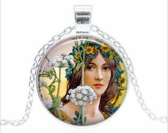 "The spring of a woman ""necklace"" ""cabochon glass chain pendant"