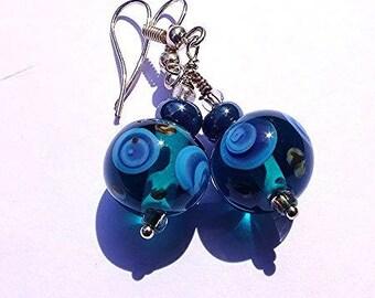 Bubble sky blue earrings