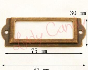 10 Porte étiquette fer coloris bronze tiroir #120134