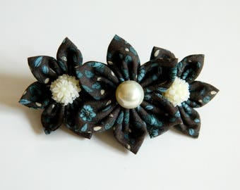 Hair clip floral fabric and plastic clip