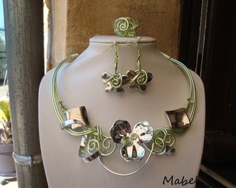 Green and silver set, necklace, earrings and adjustable ring, silver metal look beads, butterfly, wedding