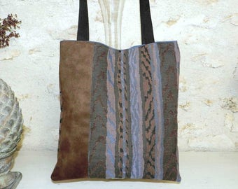 Tote bag tote bag ethnic style blue and beige. Unique piece.