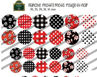Collage sheet digital pattern dots, squares, red and black flowers for creating 30 mm to 16 mm cabochons
