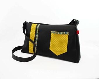 Shoulder bag / Hobo black and yellow