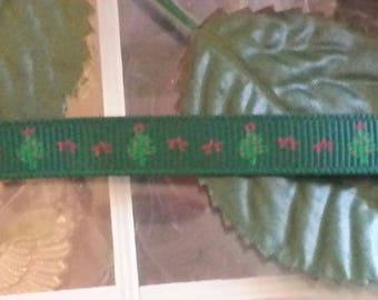 5 meters of Ribbon Christmas tree, green, 10 mm wide, 1 m