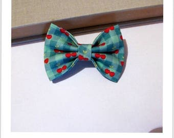 "hair bow ""clip - me"" green cherry gingham"