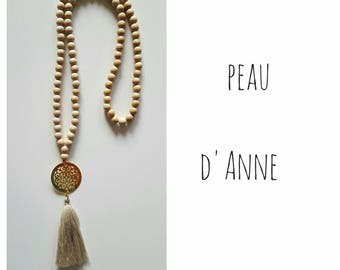 lace necklace made of natural wood, Pompom and tassel