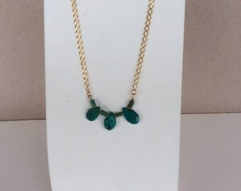 3 green turquoise briolettes necklace
