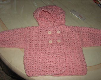 Crochet t shape coat jacket pink 12/18 months