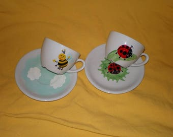 Painted porcelain Tea Cup 'Ladybug' or 'bee'