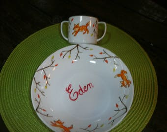 plate & Cup custom painted porcelain Fox and fall color pattern