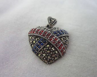 Gorgeous Sterling Silver Double Heart Pendant with Marcasites Ruby & Sapphire Rhinestones by Han