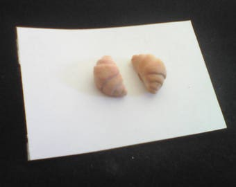 """Little realistic croissant"" pastry chip earrings"