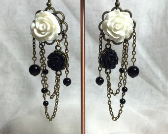 Bohemian earring pink black and white