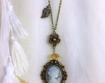 Inspired by Vampire Diaries grey cameo necklace