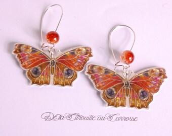 Yellow and orange butterfly earrings