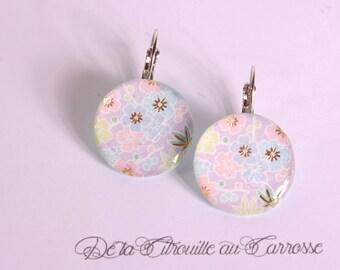 Japanese purple floral earrings