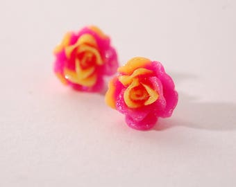 Stud Flower Earrings, fuchsia and yellow, iridescent