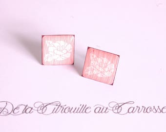 Ear studs Pink White, pale pink