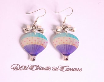 Hot air balloon earrings, blue, Silver Bow earrings