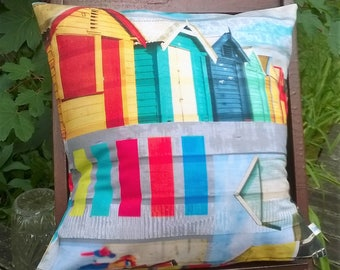 "Pillow case 40 x 40 prints ""Beach huts"" multicolor"