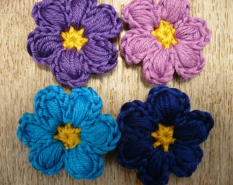 crochet applied four crocheted flowers, multicolored, sewing or craft, customisation