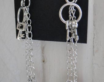 Pair of handcuff earrings and silver Keyring