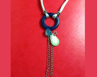 pale green double long Necklace blue vegetable ivory ring and Ribbon