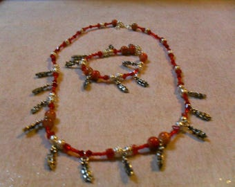 """set """"smart""""(collier, bracelet) Holly leaf, classy, festive (red and silver)"""