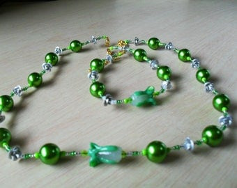 set (necklace and bracelet) fine, colorful, summer (green and grey)