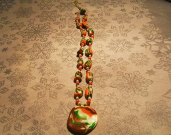 trendy, original, colorful pendant necklace (Brown, white, green and orange)