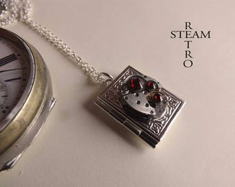 Steampunk necklace, Steampunk necklace book Locket with authentic watch movement and Swarovski Siam crystals