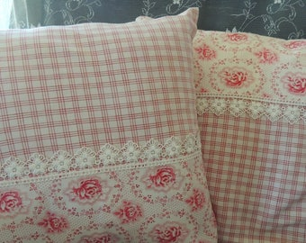 2 piece shabby pillow case from antique fabrics and lace