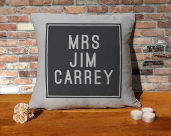 Jim Carrey Pillow Cushion - 16x16in - Grey