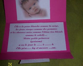 Pink and white invitation with photo