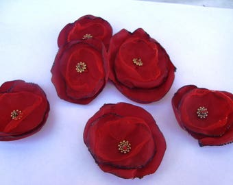 x 3 pretty poppies in red tulle and organza, hand sewn