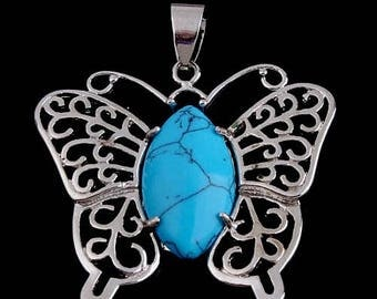Silver plated - turquoise Butterfly pendant