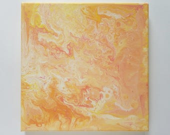 "Abstract Art Acrylic Painting Original | ""Peach Sunrise"" 20cm x 20cm Canvas"