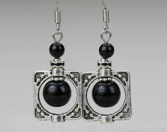 Earrings 925 Silver hook and black agate