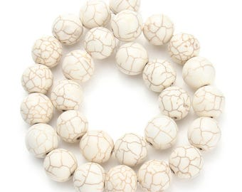 Stone 8 mm white turquoise beads lot of 10 round