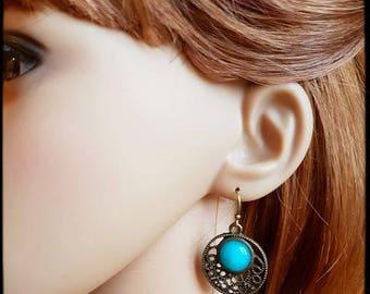 Blue dyed agate earrings